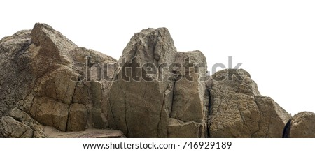 Huge stone mountain isolated on white background #746929189