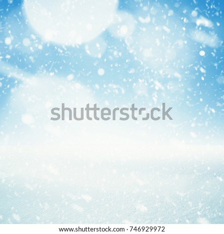Winter background, falling snow over winter landscape with copy space #746929972