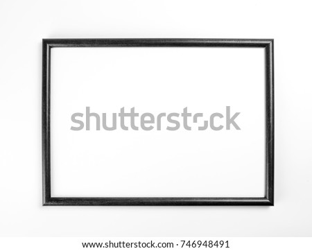Black frame for painting or picture on white background