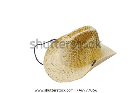 woven hat with black robe on white background #746977066