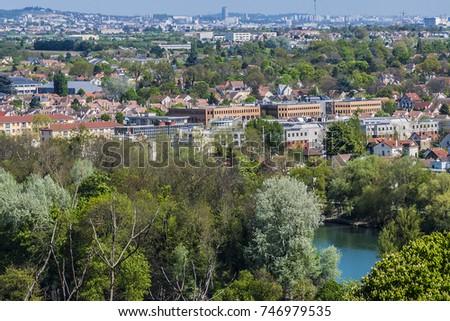 Beautiful view of valley of Seine River from lookout near Chateau de Saint-Germain-en-Laye in city Saint-Germain-en-Laye (13 miles west of Paris), France. #746979535