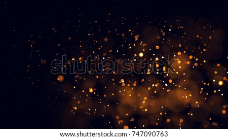 Gold abstract bokeh background. real backlit dust particles with real lens flare. glitter lights . Abstract Festivevintage lights defocused. Christmas and New Year feast. #747090763