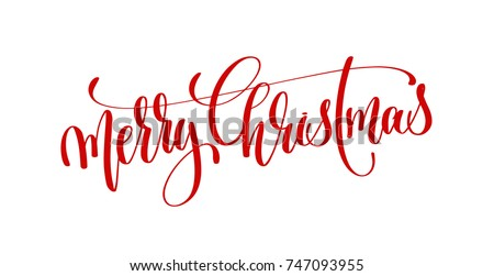 merry christmas red hand lettering inscription to winter holiday design, calligraphy vector illustration Royalty-Free Stock Photo #747093955