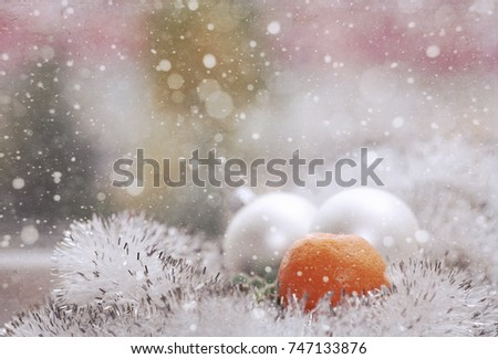 Christmas decoration, white balls, mandarin, snow/ Artwork in vintage style #747133876