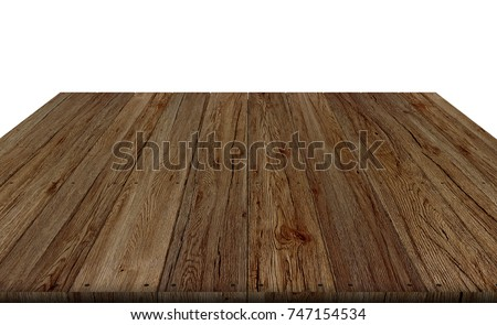 wood table top on white background, display or montage your product and clipping path, 3D rendering. #747154534