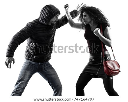 one caucasian woman victim of a thief aggression self defense isolated on white background Royalty-Free Stock Photo #747164797