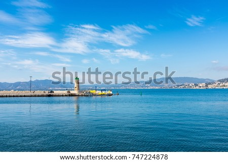 The lighthouse on beautiful sunny day in Cannes, France #747224878