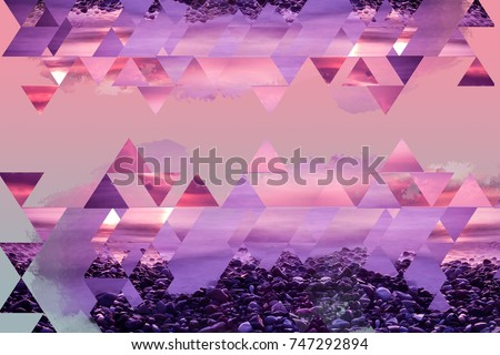 Abstract geometric background in pink and purple shades with organic elements. Beautiful dreamlike wallpaper.