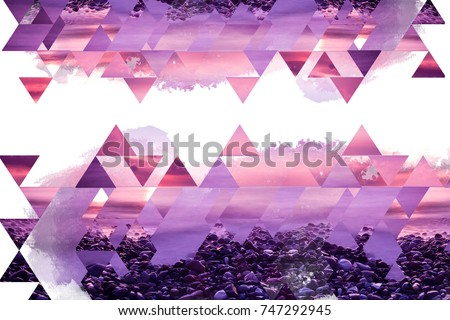Abstract geometric background in pink and purple shades on white with organic elements. Beautiful dreamlike wallpaper.