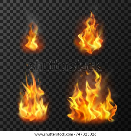 Fire flames set realistic vector illustration