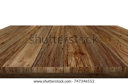 wood table top on white background, display or montage your product and clipping path, 3D rendering. #747346552