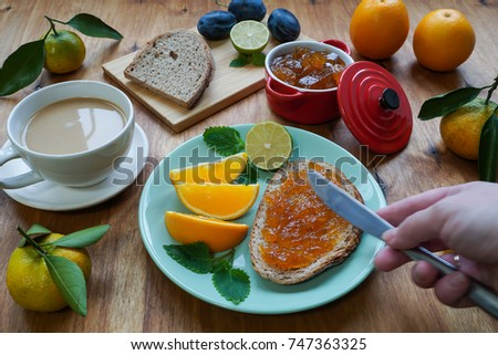 New Year's breakfast, coffee, bread, jam. Festive table setting. Christmas 2018 year. #747363325