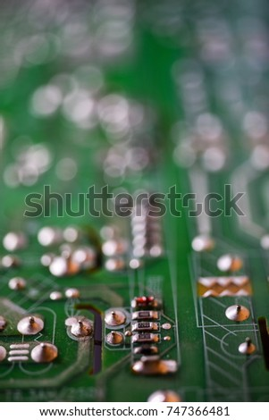 Abstract Background Technology Green circuit board background with integrated digital network technology Printed circuit board circuit board #747366481