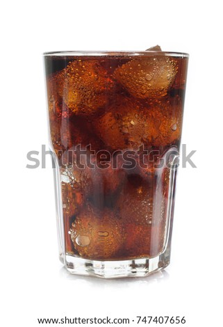 Cola in a glass isolated on white #747407656