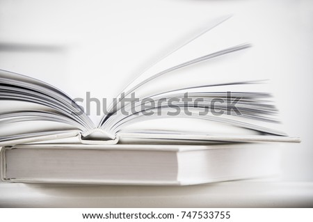 Macro view of book pages. Love reading concept with two white books