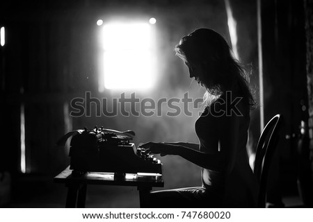 Silhouette of a beautiful girl in a dress on the background of a window in an old house #747680020