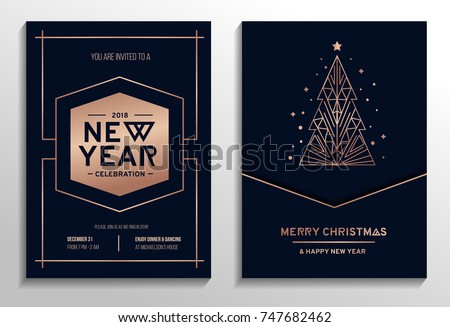 New year party rose gold invitation. Geometric christmas design with rose gold tree. New year greeting card. Vector illustration