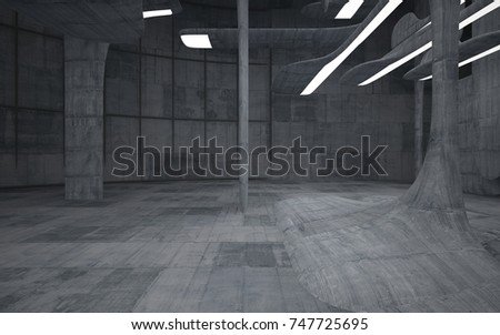 Empty dark abstract concrete room smooth interior. Architectural background. Night view of the illuminated. 3D illustration and rendering #747725695