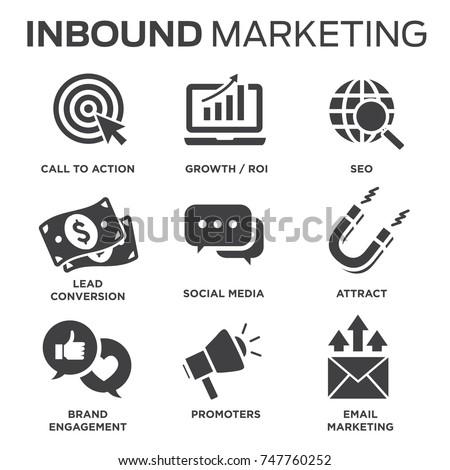 Solid inbound marketing vector icon set - CTAs, social media, magnet