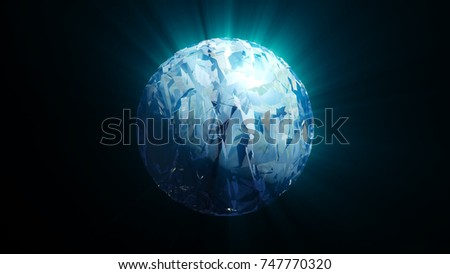Abstract swirl sphere with shine effect. 3d rendering #747770320