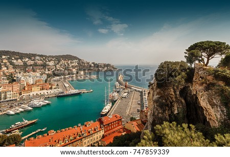 Nice, France - September 13, 2016: Panorama of Nice. View of the harbor and the Mont Boron district.  #747859339