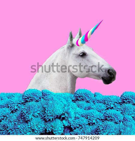 Contemporary art collage. Concept my unicorn life. White Unicorn in  dreams flowers #747914209