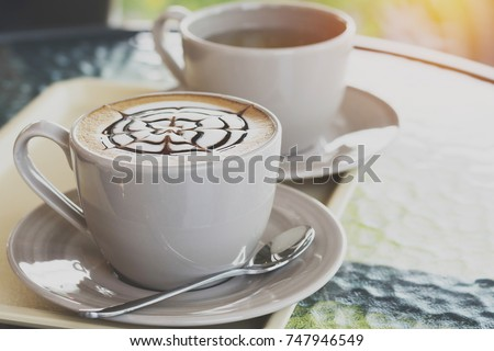 close up coffee cup in coffee shop #747946549