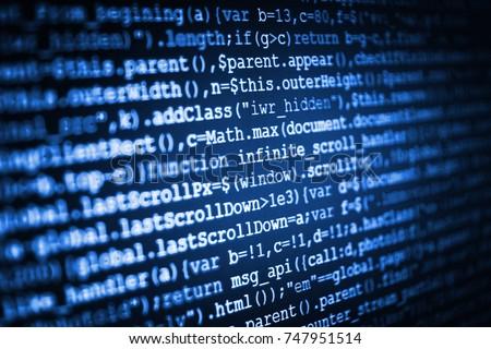 Hacker breaching net security. Programmer occupation job. Mobile app developer. Javascript functions, variables, objects. Webdesigner Workstation. Technology background. Software engineer at work.