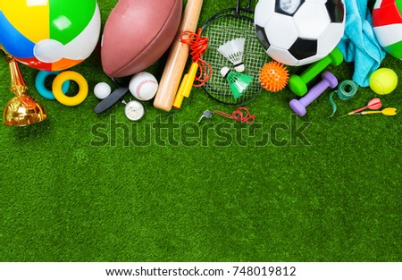 Various sport tools on grass #748019812