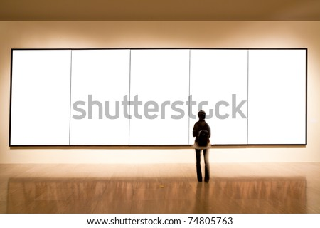 shanghai art gallery, girl look at the blank frame