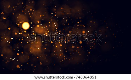 Gold abstract bokeh background. real backlit dust particles with real lens flare. glitter lights . Abstract Festivevintage lights defocused. Christmas and New Year feast. #748064851