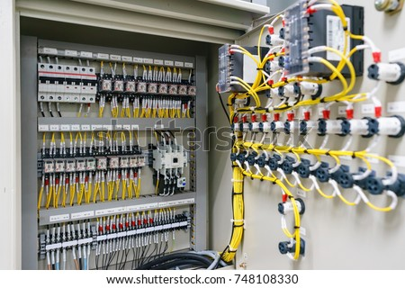 Electric control panel enclosure for power and distribution electricity. Uninterrupted, electrical voltage. Royalty-Free Stock Photo #748108330