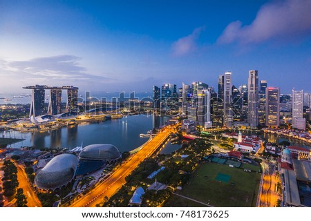 SINGAPORE - August 22, 2017:View from the infinity pool at Marina Bay Sands #748173625