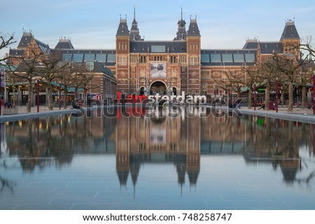 Rijksmuseum with I Amsterdam sign, Holland #748258747