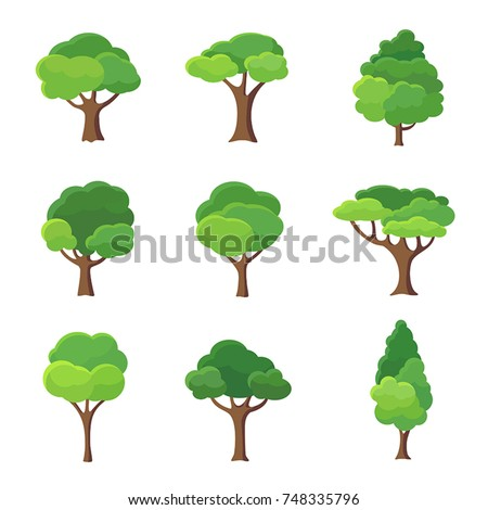 Collection of trees illustrations. Can be used to illustrate any nature or healthy lifestyle topic. Royalty-Free Stock Photo #748335796