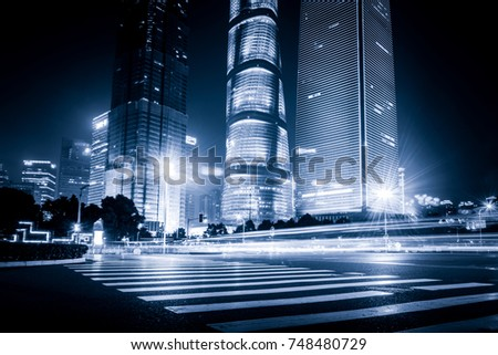 Shanghai Lujiazui Finance and Trade Zone of the modern city night background #748480729