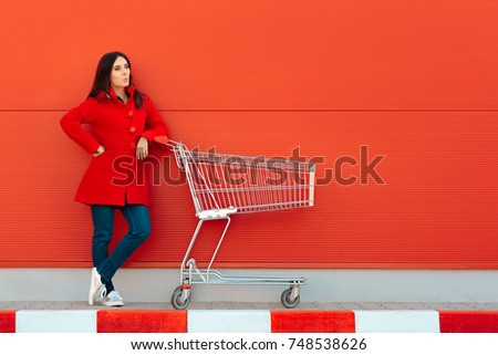 Woman with Cart Ready for Shopping Spree on Sale Season - Beautiful casual shopper girl going to the store   #748538626