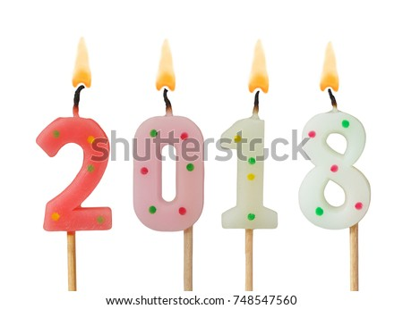 Burning candles on white background, number 2018, new year concept