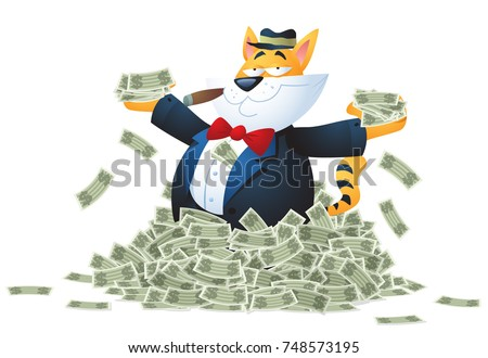 A cartoon fat cat character enjoying a pile of money.