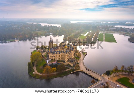 Castle of schwerin in Mecklenburg-Western Pomerania , germany, aerial view Royalty-Free Stock Photo #748611178