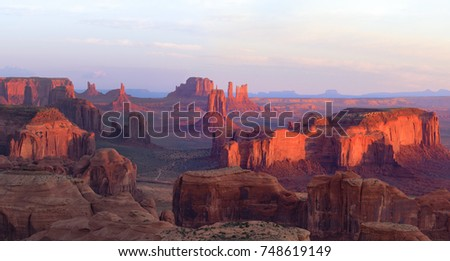 Sunrise in Hunts Mesa navajo tribal majesty place near Monument Valley, Arizona, USA #748619149