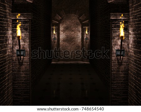 Arches with torches background 3d illustration