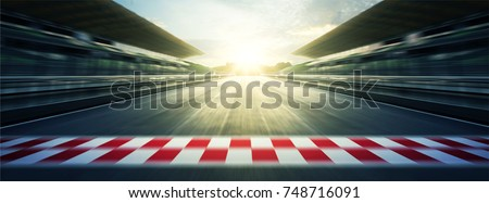 Panorama evening circuit motion blur road Royalty-Free Stock Photo #748716091