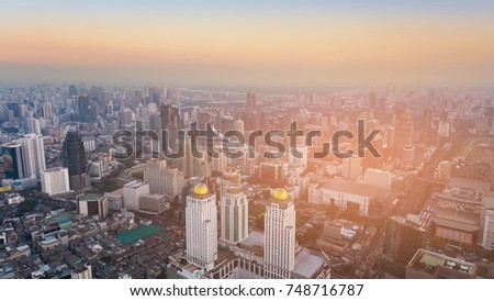 City central business downtown Bangkok city of Thailand aerial view #748716787
