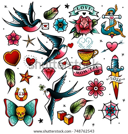 Old tattooing school colored icons set with swallow rose heart cup of tea knife anchor skull nautical knot symbols isolated vector illustration Royalty-Free Stock Photo #748762543