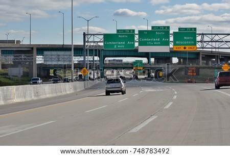 Chicago highway I-90 .