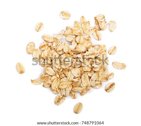 oat flakes isolated on white background. Top view #748791064