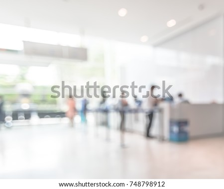 Business office building lobby blur background of bank reception hall customer or patient counter service and cashier desk inside blurry hospital, office or hotel waiting hall Royalty-Free Stock Photo #748798912