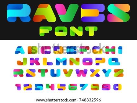 Creative Design vector Font of twisted Ribbon for Title, Header, Lettering, Logo. Funny Entertainment Active Sport Technology areas Typeface. Colorful Letters and Numbers. #748832596