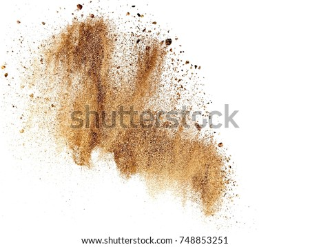Dry river sand explosion Royalty-Free Stock Photo #748853251